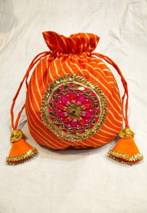 Leheriya Printed Kota Silk Potli Bag in Orange