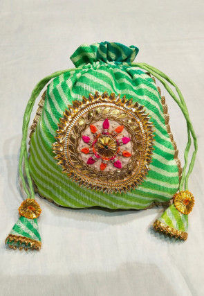 Leheriya Printed Kota Silk Potli Bag in Shaded Green