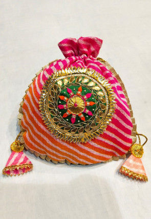 Leheriya Printed Kota Silk Potli Bag in Shaded Pink and Orange
