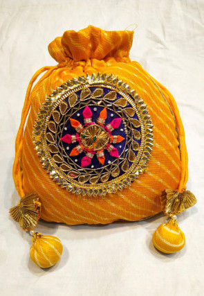 Leheriya Printed Kota Silk Potli Bag in Yellow