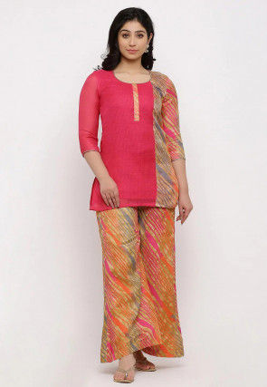 Leheriya Printed Kota Silk Short Kurti in Coral Pink