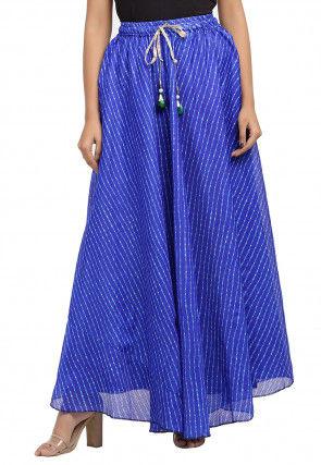 Leheriya Printed Kota Silk Skirt in Royal Blue