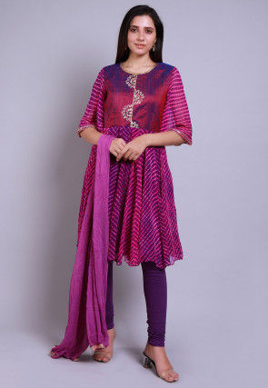 Leheriya Printed Pure Georgette A Line Suit in Purple