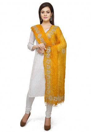 Leheriya Printed Pure Kota Silk Dupatta in Yellow
