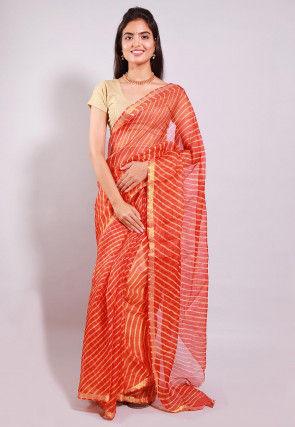 Leheriya Printed Pure Kota Silk Saree in Orange