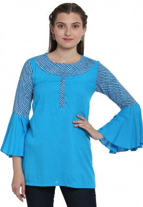 Leheriya Printed Rayon Top in Turquoise