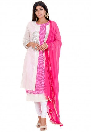 Leheriya Printed Tissue Straight Suit in Pink and White
