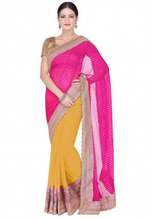 421c973340b20e Pure Georgette - Yellow - Saree Online  Buy Latest Indian Sarees ...