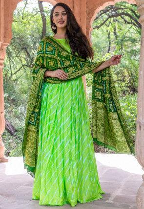 Leheriya Uppada Silk Abaya Style Suit in Light Green
