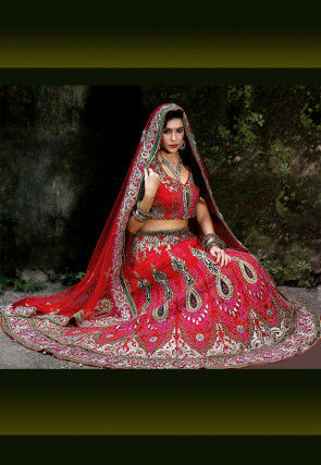 Hand Embroidered Net Lehenga in Red