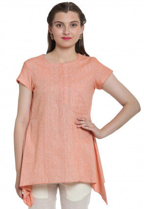 Solid Color Linen Cotton Asymmetric Top in Peach