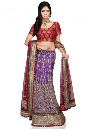 Hand Embroidered Pure Raw Silk Lehenga in Purple