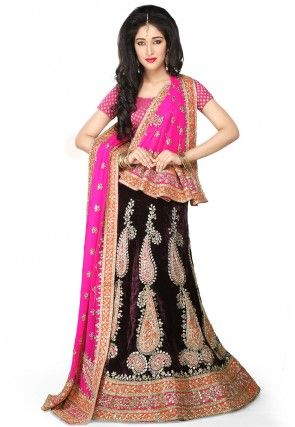Embroidered Velvet Lehenga in Dark Violet