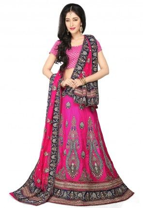 Hand Embroidered Pure Raw Silk Lehenga in Fuchsia
