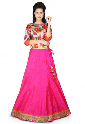 Printed Dupion Art Silk Lehenga in Fuchsia