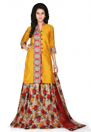 Printed Bhagalpuri Art Silk Lehenga in Beige and Mustard