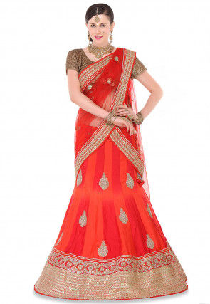 Pure Silk Hand Embroidered Lehenga in Red and Orange