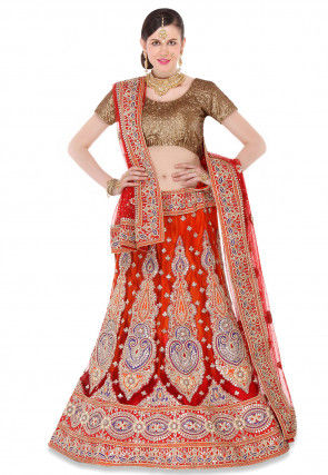 Embroidered Net Circular Lehenga in Red and Orange