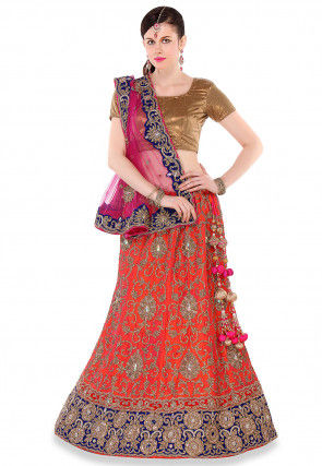 Embroidered Pure Raw Silk A Line lehenga in Rust