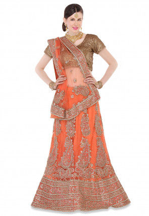 Embroidered Net A Line Lehenga in Orange