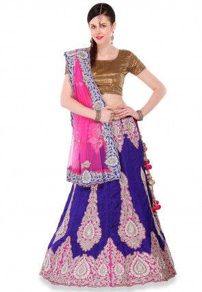 Embroidered Pure Raw Silk Circular Lehenga in Purple
