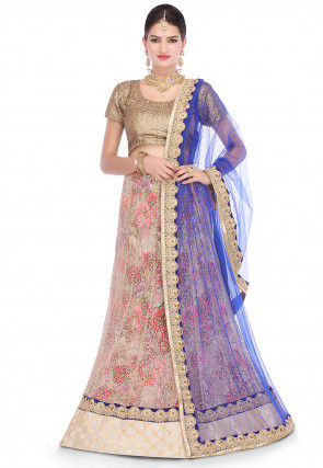 Embroidered Net Lehenga in Muticolor
