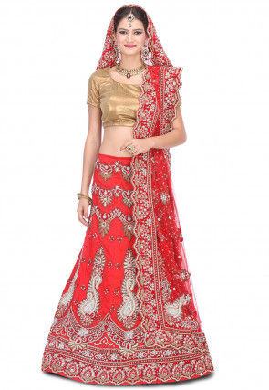 Hand Embroidered Pure Raw Silk Circular Lehenga in Red