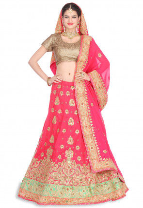 Gota Patti Pure Raw Silk Circular Lehenga in Pink