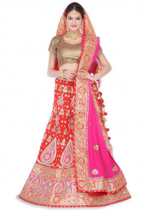 Gota Embroidered Pure Raw Silk Circular Lehenga in Red
