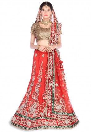 Embroidered Net Circular Lehenga in Red