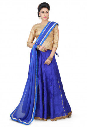 Plain Bhagalpuri Silk Circular Lehenga in Blue