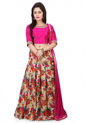 Printed Bhagalpuri Silk Circular Lehenga in Beige