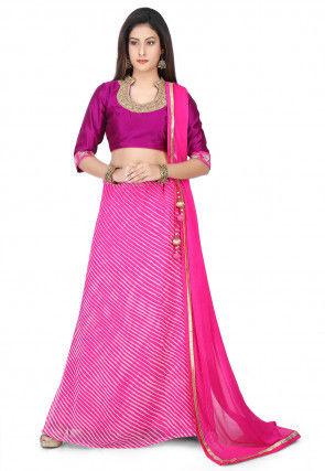 Leheriya Printed Georgette Circular Lehenga in Pink