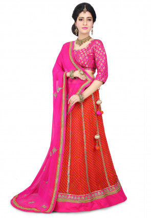 Pure Georgette Lehariya Lehenga in Coral Red