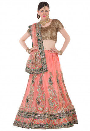 Gota Patti Net Circular Lehenga in Peach