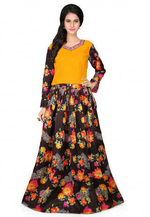 Printed Bhagalpuri Silk Lehenga in Black