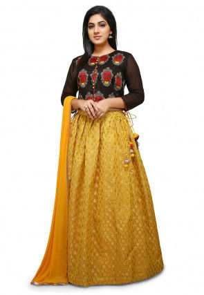 Woven Chanderi Silk Jacquard Lehenga in Yellow