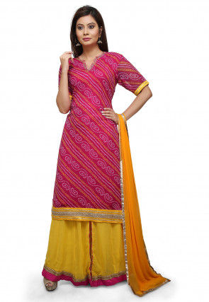 Bandhej Georgette Lehenga in Fuchsia and Yellow
