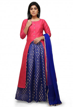 Woven Art Silk Lehenga in Pink and Royal Blue