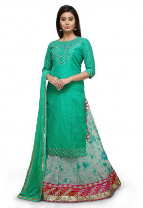 Marble Dye Art Silk Lehenga in Teal Green and Pastel Green