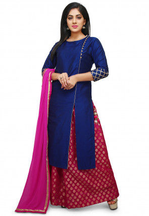 Plain Cotton Silk Lehenga in Royal Blue and Fuchsia