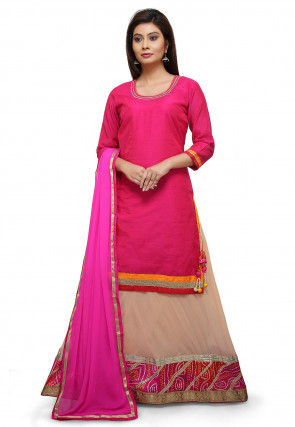 Plain Art Silk Lehenga in Fuchsia and Peach