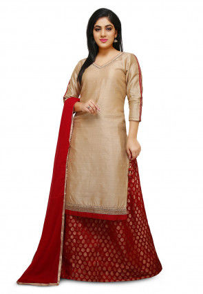 Plain Bhagalpuri Silk Lehenga in Beige and Red