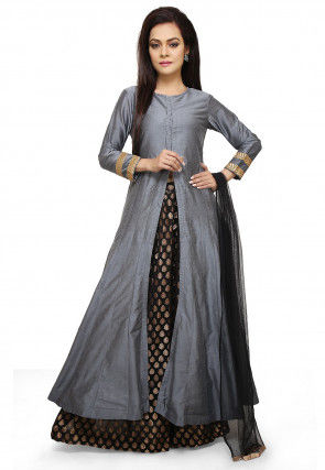 Plain Cotton Silk Lehenga in Grey and Black