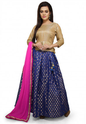 Woven Chanderi Silk Jacquard Lehenga in Royal Blue