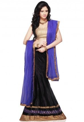 Patch border Velvet Lehenga in Black