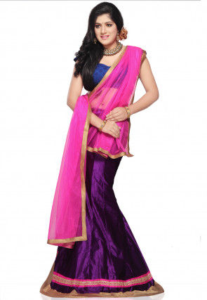 Patch Border Velvet Lehenga in Purple