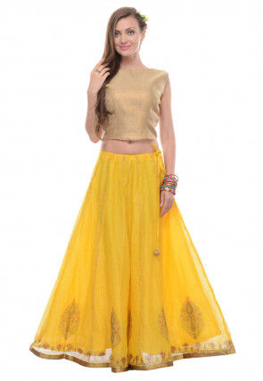 Block Printed Chanderi Cotton Circular Lehenga in Yellow