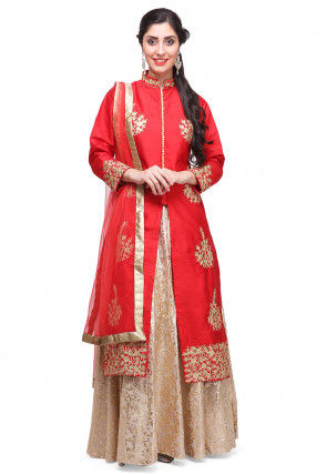Embroidered Cotton silk Jacket style Lehenga in Red