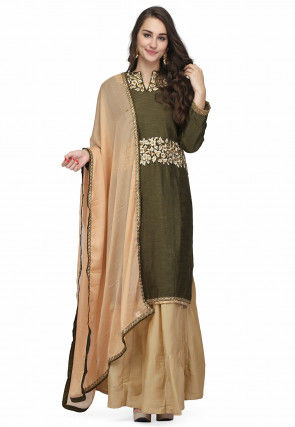 Embroidered Raw Silk Lehenga in Olive Green
